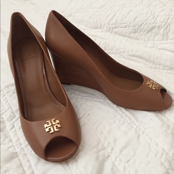 9b9d6611d4861f Tory Burch Jolie Peep Toe Wedge Pumps